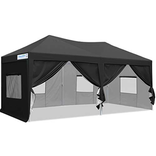Quictent Privacy 10x20 Feet EZ Pop-up Canopy Tent Instant Canopy Commercial Party Tent Outdoor Canopy with 6 sidewalls (Black)