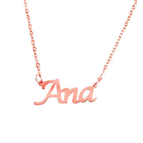 Kigu Ana Collar con Nombre - Chapado en Oro Rosa de 18 Quilates Personalizado - Cadena Ajustable