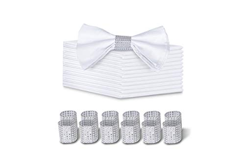 """LuxKitchen White Cloth Napkins Set of 12 Cotton(18""""x18"""") with 12 Silver Napkin Rings, Luxury Cocktail/Dinner White Linen Napkins,Soft & Reusable Napkins Fabric for Family Dinners, Weddings & Parties"""