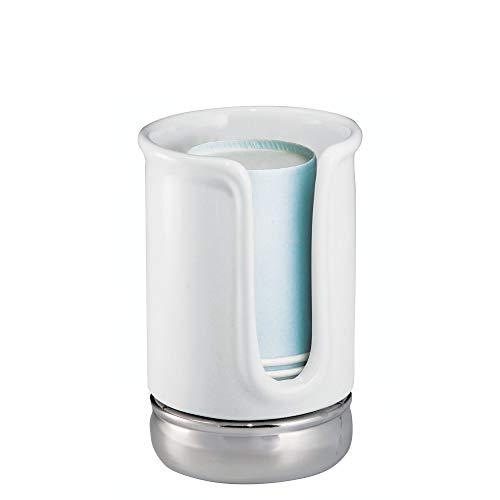 iDesign York Ceramic Disposable Paper and Plastic Cup Dispenser Holder for Master, Guest, Kids'...