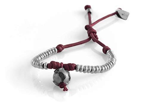 nubu Pulsera de plata 925 con diamante y cordón colgante | Mujer y Hombre | Pulsera de viaje artesanal | Hecho a mano en Italia burdeos