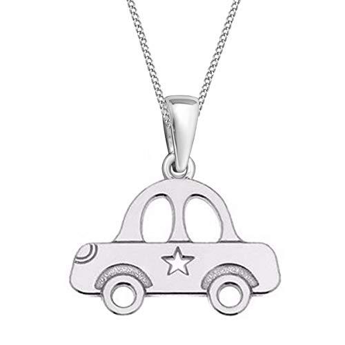Auto Anhänger mit Kette 925 Echt Silber Kinder Mädchen Jungen Halskette (1) Silber, 38)