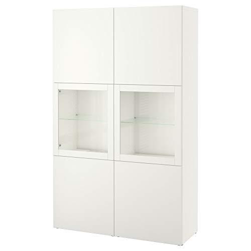 BESTÅ combinación de almacenamiento con puertas de vidrio 120x40x192 cm Lappviken/Sindvik blanco cristal transparente