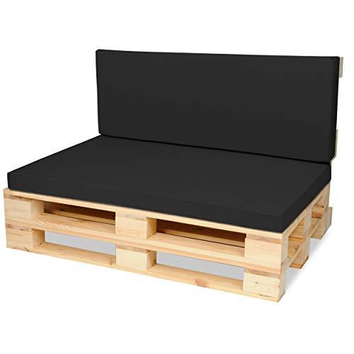 SuperKissen24. Matelas Coussin Dossier pour Palette Canapé 120x80 cm et Appui 120x40 - Intérieur/Extérieur – imperméable – Mousse - Noir