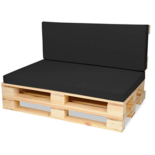 SuperKissen24. Cojín Colchón para Palet Sofá Banco 120x80 cm y Respaldo 120x40cm Asiento Cómodo e Impermeable para Muebles Terazza Exterior - Nero