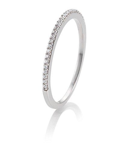 Juwelier Gelber Memory Ring Memoire Ring Stapelring 28 Brillanten 0,112ct 585 Weiß Gold Weissgold (56 (17.8))