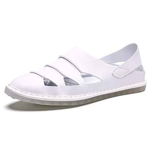 cicongzai Zapatos de Cuero para Hombre de Verano Hechos a Mano Sandalias Top Capa Retro Zapatos de Cuero Zapatillas Moda para Hombre Zapatos de Cuero Casual (Color : White, tamaño : 41 EU)