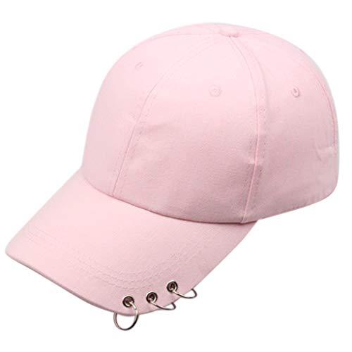 Gorra de béisbol coreana Harajuku de algodón con 3 anillos de metal Hip Hop Street Color sólido ajustable Snapback Dad Hat