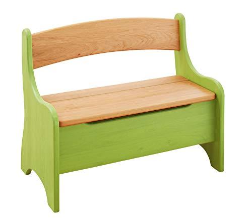 BioKinder 24785 Levin Kindersitzbank Sitzbank Truhenbank für Kinder aus Massivholz Erle und Kiefer 70 x 36 x 55 cm grün lasiert