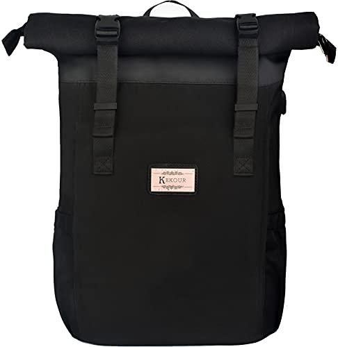 Laptop Rucksack Herren Damen, Schule Rolltop Rucksack für 17 Zoll Laptop, Schulrucksack mit Laptopfach & Anti Diebstahl Tasche, Stylische Tagesrucksack für Universität...