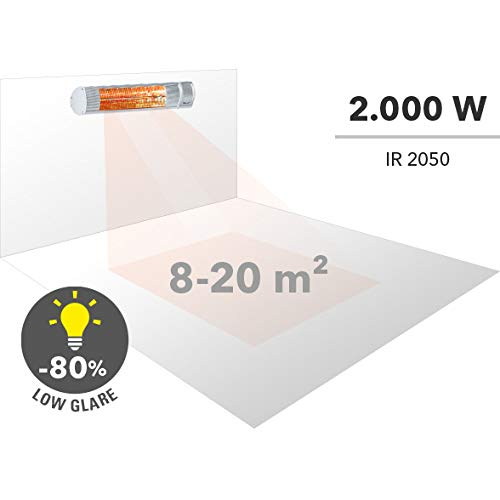 TROTEC Infrarot Heizstrahler IR 2050 Heizstrahler Quarzstrahler Terrassenheizer Wickeltischstrahler, Infrarot, Infrarotwärme ohne Vorheizen, strahlwassergeschützt, 2000 Watt - 3