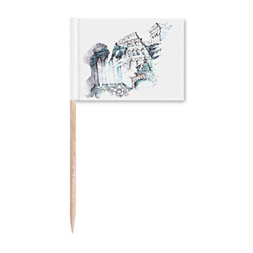 Roma Arquitectónico de acuarela, pintura de palillo de dientes, banderas para decoración de fiesta