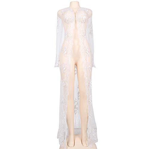 """N\""""A Glamour Underwear erotische sexy Kleider, handgemachte Spitze, Hochzeitsmantel, Dessous, transparent, Brautkleid, langes Kleid für Damen, Dessous (Farbe: weiß, Größe: M)"""