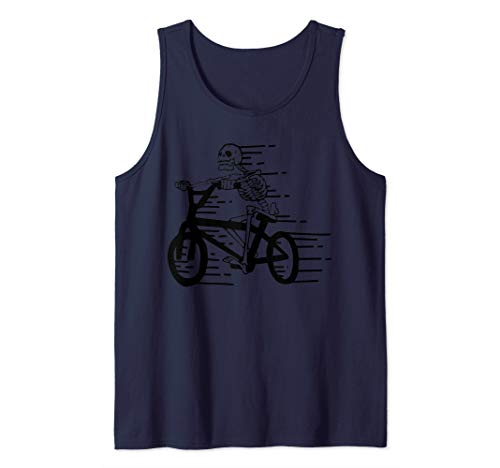 Bike Funny Skeleton On Bicycle Biker Cycling Tank Top