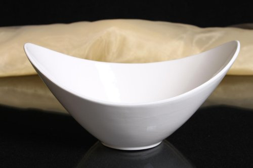 Schale oval Porzellan weiss Schüssel Obstschale Dekorschale