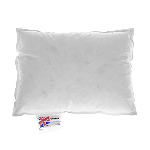 HOMESCAPES Goose Feather and Down Cushion Pad 30 x 40 cm (12' x 16') Inner Insert Filler with 100% Cotton Down Proof Cover Hypoallergenic RDS Certified Machine Washable