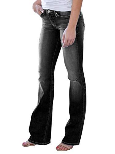 Minetom Damen Jeans Hose Retro Skinny Schlaghosen Jeanshose Boyfriend Damenjeans Casual Lange Mode Denim Hose B Schwarz 41W/42L