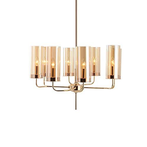 WYBW Candelabro, candelabro moderno de 6 luces, pantalla cilíndrica de vidrio esmerilado, lámpara colgante de latón, para comedor, sala de estar, dormitorio, entrada para el hogar, luz de techo, ámba