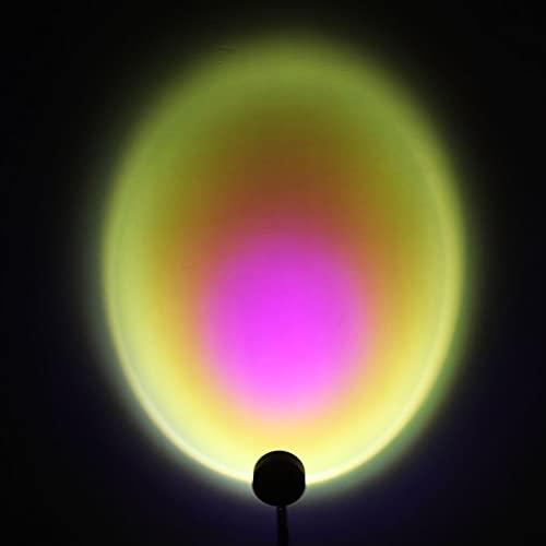 DULG Proyector de lámpara de puesta de sol Proyección de luz nocturna LED, atmósfera de rotación de 180 grados Lámpara de proyección USB de arco iris, luz LED visual romántica para fiesta en casa, sal