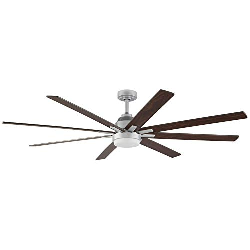 """Rivet Modern Remote Control DC Motor Ceiling Fan with 18W Integrated LED Light, 72""""W x 10""""H, Walnut and Silver Ceiling Fans"""