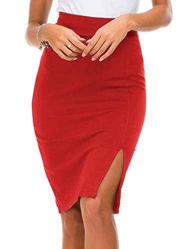 Women's Elastic Waist Side Slit Hem Bodycon Pencil Skirt (L, Red)