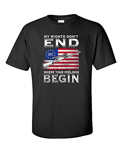Camiseta unissex de manga curta My Rights Don't End Where Your Feelings Begin 2nd Amendment Gun Rights, Preto, 5XG