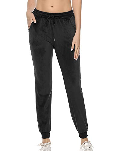 Aibrou Women Velvet Trouser Jogger Sweatpants Ladies Cosy Jogging Gym Sports Pant Black S
