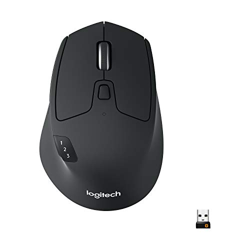 Logitech M720 Triathlon Mouse Wireless per Windows e Mac, Bluetooth, Unifying, Easy-Switch, Nero