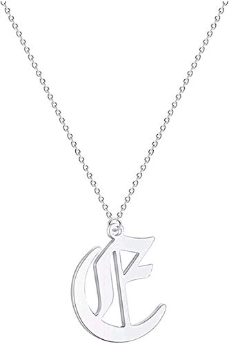huangxuanchen co.,ltd Necklace Necklace Initial Letter Women Men Necklace Stainless Steel Metal Jewelry Vintage Chain Choker Pendant Necklace Gift