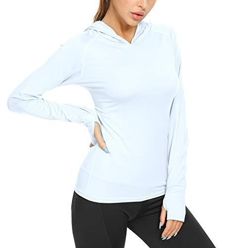 MEETYOO Damen Sportshirt, Langarm Shirts Laufshirt Funktionsshirt Atmungsaktiv Frauen T-Shirt mit Daumenlöcher für Running Gym Fitness