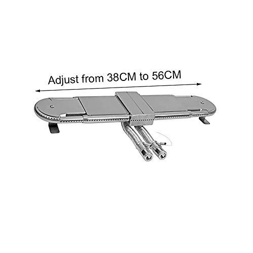 Attachcooking BBQ Edelstahl Ersatzteile einstellbar Universal BBQ Grill Oblong Tube Brenner (Einstellen von 38 cm auf 56 cm)