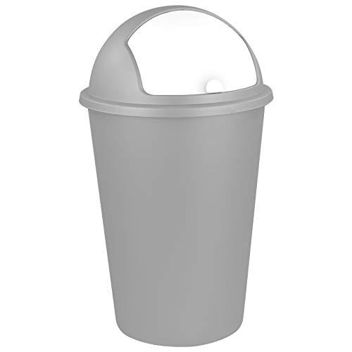 TW24 Abfalleimer 50L mit Farbauswahl - Kosmetikeimer - Mülleimer - Badezimmereimer - Abfallbehälter (Silbergrau)