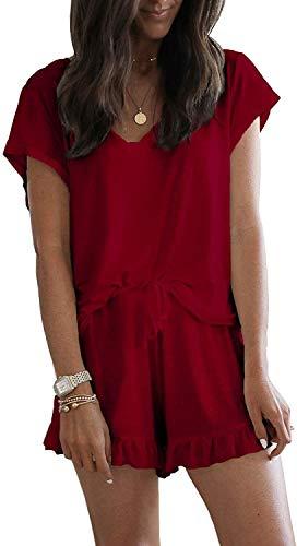 Womens Short pyjama Set Tie Dye Printed 2 stuks Lounge nachtkleding nachtkleding (Color : C-wine, Size : XL)