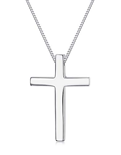 Sllaiss 925 Sterling Silver Cross Necklace for Men Women Best Gift Cross Pendant Necklace 18''