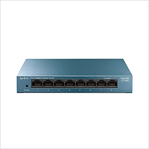 TP-Link LS108G - Switch Ethernet Gigabit a 8 porte 10 100 1000 Mbps, ideale per la condivisione di connessione e la rete per piccole aziende e uffici domestici