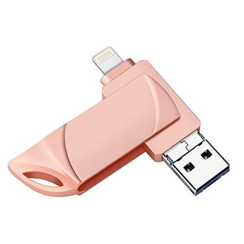 Memoria USB para iPhone, USB 3.0, unidad OTG Pen-Jump, con adaptador micro USB, memoria externa, unidad de humb 3 en 1 para iPad, Android y PC Rosa. 32 GB