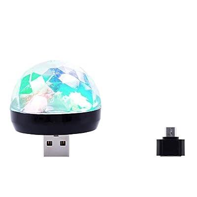 USB Mini Stage Lighting Bulbs,JIANGfu Disco Stage Lights LED RGB DJ Effects Party Club KTV Xmas Magic Phone Ball Lamp (Black - MICRO USB)