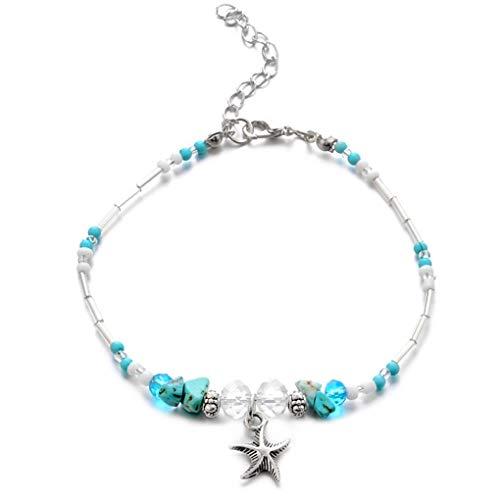 N-brand PULABO Kristall Beige Perlen Türkis Perlen Seestern Fußkettchen geeignet für Frauen und Mädchen kreativ und nützlich Beliebt