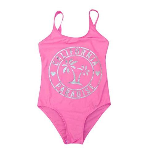YWLINK BañAdor De Una Pieza para NiñA Traje De BañO Casual Transpirable De ProteccióN Solar De Playa Bikini Regalo De Verano(Rosado,7-8 años)