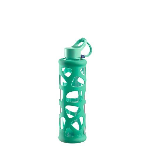 Leonardo 029227 In Giro Gourde en verre borosilicate 350 ml, étui de protection, passe au lave-vaisselle, résistant aux chocs, vert