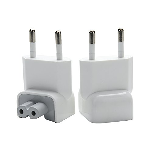WESAPPINC Pack of 2 Duckhead Europe Wall Charger AC Cord EU Standard Duck Head Plug for MacBook Mac iBook/iPhone/iPod AC Power Adapter (EU Standard)