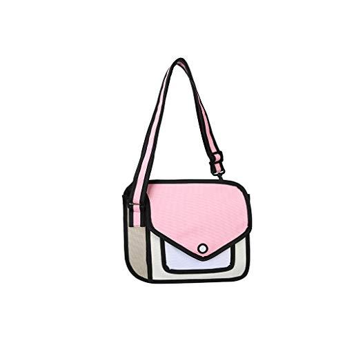 MB-LANHUA Frauen 2D Schulter Schultasche 3D Zeichnung Cartoon Papier Comic Crossbody Handtasche Rosa