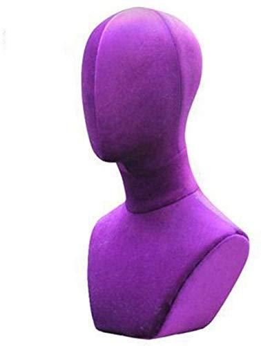 GUIYTQ5R Maniqui Costura Maniquí Profesional Femenino maniquí Cabeza Pantalla Sombreros Peluca Bufandas de Cabeza paño de Espuma Collar (Color : Purple, Size : 46cm)