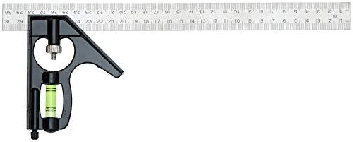 Esquadro de Aço com Nível Ajustável 300 mm, Black Jack D090