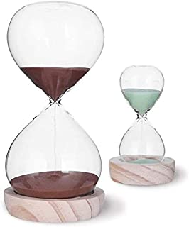 Large Fashion Colorful Sand Glass Sandglass Hourglass Timer Clear Smooth Glass Measures Home Desk Decor Xmas Birthday Gift (60 Min+5 Min, Copper)
