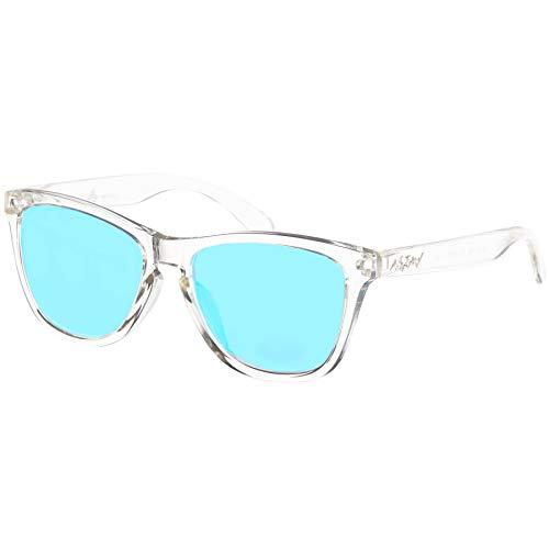 Nebelkind Sonnenbrille Suntastic Durchsichtig Hellblaue Gläser Verspiegelt mit UV-Schutz Brillenetui Unisex One Size