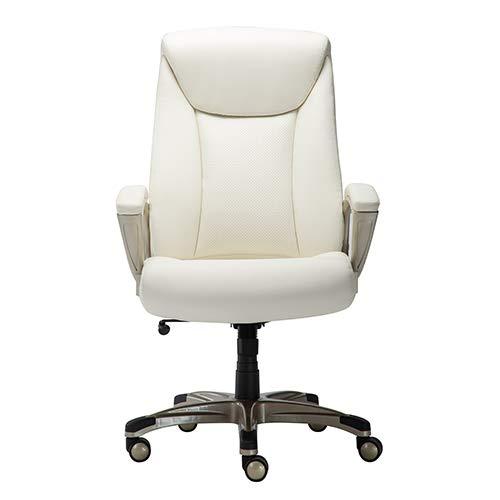 AmazonBasics Bonded Leather Big & Tall Executive Office Computer Desk Chair, 350-Pound Capacity - Cream
