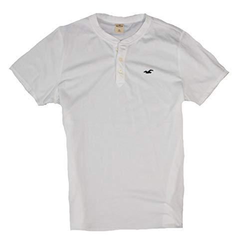 Hollister Men's Tee Graphic T-Shirt - V Neck - Crew Neck (White Henley 11988, XL)