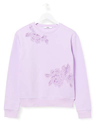 Amazon-Marke: find. Damen Sweatshirt mit Spitzen-Details, Violett (Purple), 38, Label: M