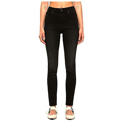 Diesel D-Roisin-High L.30 Pantaloni Jeans, 02 Black Denim, 29 Donna